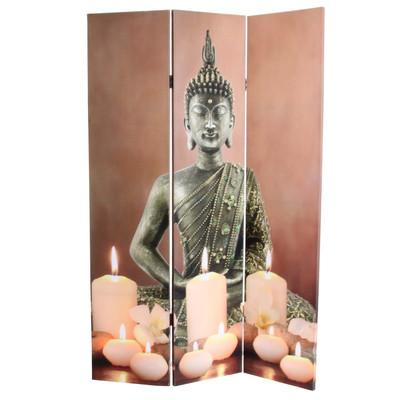 Paravent Buddha, Trennwand Raumteiler, mit Beleuchtung 180x120cm 9 LED – Bild 4