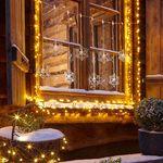 LED Acrylvorhang Schneeflocken 84 cm / Kaltweiss / IP44 – Bild 1