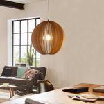 Rift XL Pendelleuchte Ø 50 cm mit Holzschirm / Beige – Bild 1
