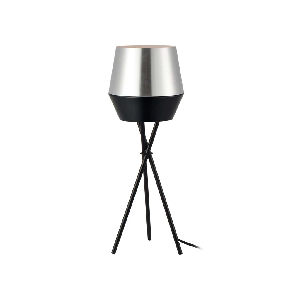 s.LUCE LED Tischlampe SkaDa Ø 20cm in Alu, Schwarz