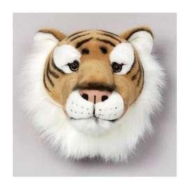 Wandgestaltung im Kinderzimmer mit toller Tiertrophäe Tiger aus Plüsch