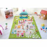 Design Spielteppich und Kinderteppich Puppenhaus Villa mit 3D-Effekt, grün, in 3 Grössen erhältlich