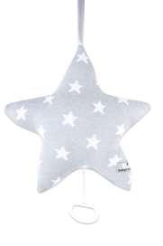Spieluhr Stern, grau mit weissen Sternen, gestrickte Baumwolle, von Baby's Only