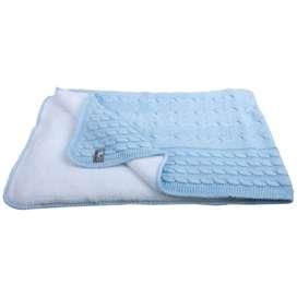 Babydecke mit Zopfmuster, hellblau, gestrickte Baumwolle mit Teddyfutter, 90 x 75 cm, von Baby's Only