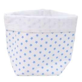 Aufbewahrung im Kinderzimmer stilvoll und praktisch   Weisses Utensilo mit hellblauen Sternen