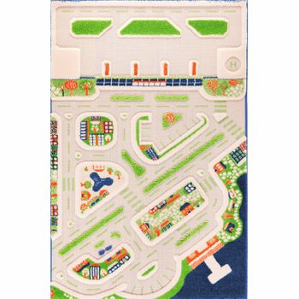 3D Spielteppich und Kinderteppich Stadt  Mini City  mit Hafen, Flughafen und Strand, in 4 Grössen erhältlich