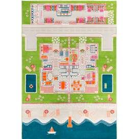 3D Spielteppich und Kinderteppich Doppelhaus  Beach Houses  mit Strand, in 3 Grössen erhältlich