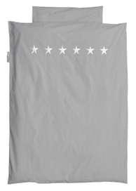Kinderbettwäsche oder Jugendbettwäsche Sterne silber, 100 x 135 oder 135 x 200 cm, hellgrau
