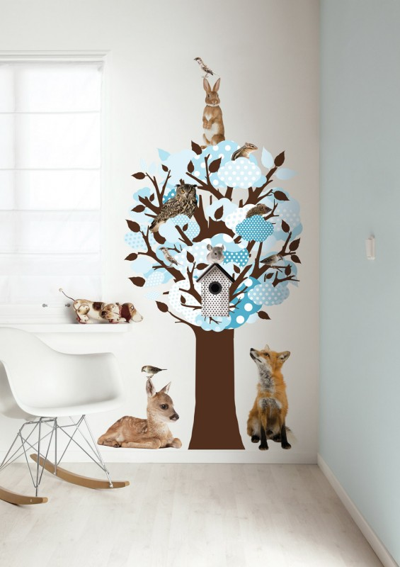 Wandgestaltung Im Kinderzimmer Mit Wandsticker Baum Und Tiere In Braun /  Blau Von KEK Unbedingt Ansehen!