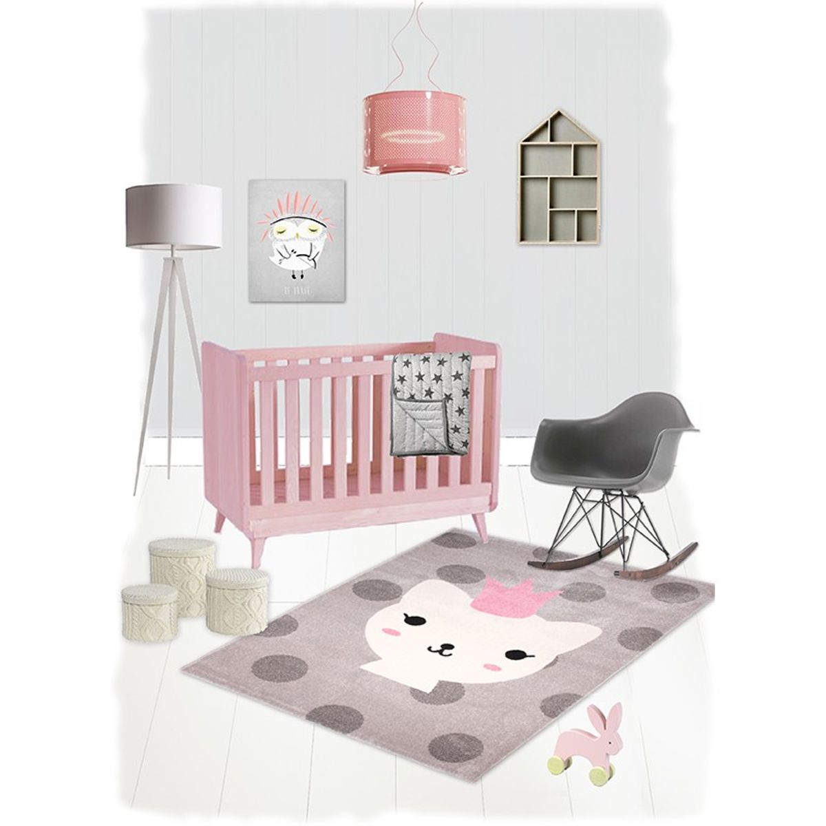 kinderteppich katze 120x170cm rosa grau von nattiot. Black Bedroom Furniture Sets. Home Design Ideas