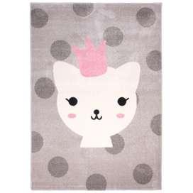 Bezaubernder Kinderteppich Katze, lola polka, rosa/grau, 100% Polypropylen, Ökotex 100 zertifiziert, 120 x 170 cm, von Nattiot