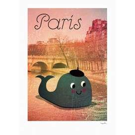 Kinderposter  Whale in Paris , 50 x 70 cm, Ingela P. Arrhenius für OMM Design