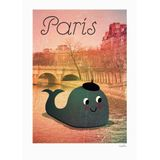 Kinderposter  Whale in Paris , 50 x 70 cm, Ingela P. Arrhenius für OMM Design