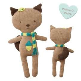 Wunderschönes Stricktier Eichhörnchen, braun, 30 cm, Bio Baumwolle, Fair Trade, von Hoppa