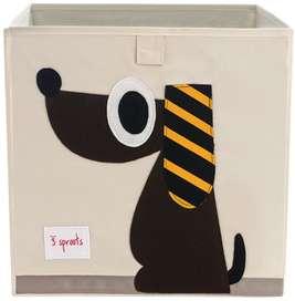 Aufbewahrung im Kinderzimmer | Spielzeugbox mit Hund, 33 x 33x 33 cm, von 3 sprouts