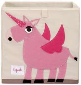 Aufbewahrung im Kinderzimmer mit Spielzeugbox Einhorn, rosa, 33 x 33x 33 cm, von 3 sprouts