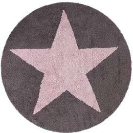 Kinderteppich rund mit Stern, grau/rosa, zum Wenden, Durchmesser 140 cm, 100% Baumwolle, von Lorena Canals