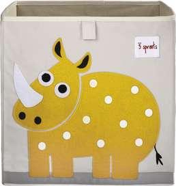 Aufbewahrung im Kinderzimmer | Spielzeugbox mit gelbem Nashorn, 33 x 33x 33 cm, von 3 sprouts