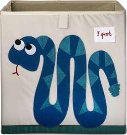 Aufbewahrung im Kinderzimmer   Spielzeugbox mit blauer Schlange, 33 x 33x 33 cm, von 3 sprouts