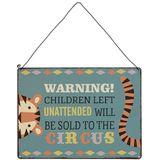 Kinderzimmer Dekoration, Metallschild,Vintage,  Warning! Children left unattended... , von Rex