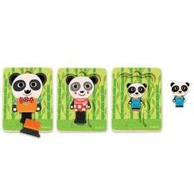 3 Schichten Puzzle, Legepuzzle, Panda, ab 18 Monaten, von Djeco