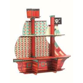Dekoratives Kinderzimmer Motiv Wandregal und Aufbewahrung, Piratenschiff, 52 x 54 x 17 cm, von Djeco