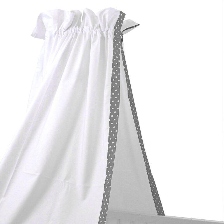 babybett himmel wei einfassung mit grauen sternen sugarapple. Black Bedroom Furniture Sets. Home Design Ideas