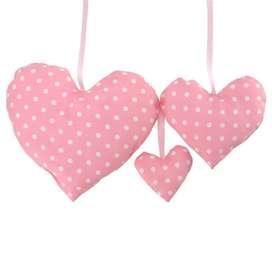 Zuckersüßes 3er Set, Deko Herzen, rosa mit weißen Punkten, 100% Baumwolle, von sugarapple