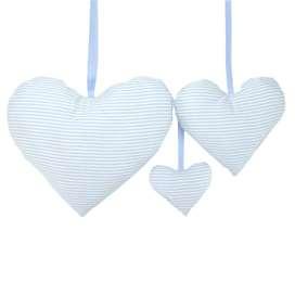 Bezauberndes 3er Set, Deko Herzen, Streifen hellblau, 100% Baumwolle, von sugarapple