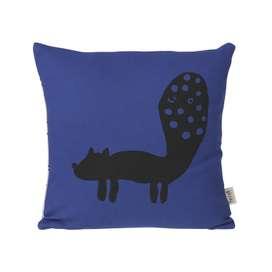Kuschelkissen Fuchs, in blau, aus Biobaumwolle, 30 x 30 cm, von Ferm Living