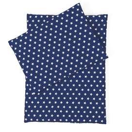 Puppen Zubehör, 3-teilige Puppenbettwäsche,  dunkelblau, Sterne weiß , 100% Baumwolle von sugarapple