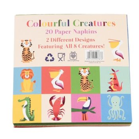 Party Servietten,  Colourful Creatures , mit Tiermotiven, 20 Stück, von Rex International