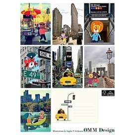 Postkarten und/oder Wanddeko  Friends from New York , 7 Stück mit Umschlägen, 13 x 18 cm, von OMM Design