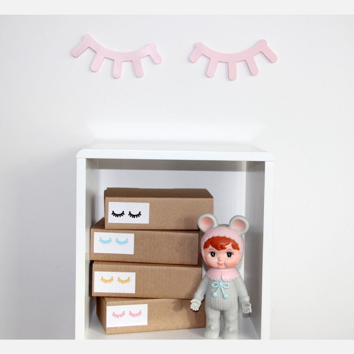 Kinderzimmer Dekoration, 2er Set Sleepy Eyes , Pink, Aus Holz, Handmade In  Schweden ...