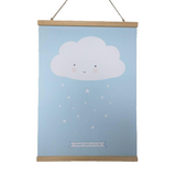 Kinderposter,  Cloud , 50 x 70 cm, blau/weiß, von A Little Lovely Company