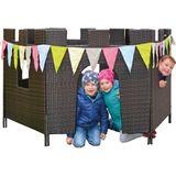 Spielzeug für draußen, Rattanburg, 6 Seiten, aufgestellt 160 x 220 cm, aus Kunststoffrattan, von Eduplay