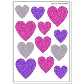 Wandsticker Herzen,  Corazon , pink, 12 Stück, von buokids