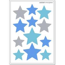Wandsticker Sterne,  Estrella , blau, 12 Stück, von buokids