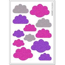 Wandsticker Wolken,  Nube , pink, 12 Stück, von buokids