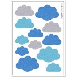 Wandsticker Wolken,  Nube , blau, 12 Stück, von buokids
