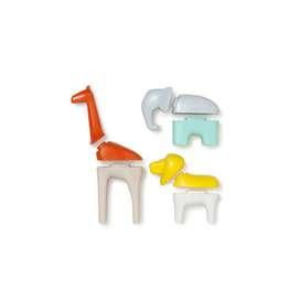 Fantasievolle Stecktiere, Elefant, Giraffe und Löwe, von kid o