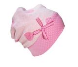 Stylische warme Kinder Mütze  Beanie  aus Fleece, rosa, mit Punkten, von Farbgewitter