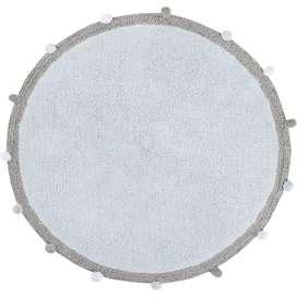 Kinderteppich rund mit Pommeln  Bubbly Soft Blue , hellblau, 120 cm Durchmesser, 100% Baumwolle, waschbar, Lorena Canals