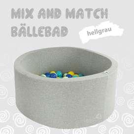 Mix & Match Bällebad rund in hellgrau, 90 x 40 cm, inkl. 200 Bällen mit freier Farbwahl