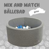 Mix & Match Bällebad rund in grau, 90 x 40 cm, inkl. 200 Bällen mit freier Farbwahl