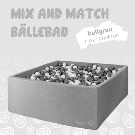 Mix & Match Bällebad, hellgrau, 110 x 110 x 40 cm, inkl. 400 Bälle mit freier Farbwahl