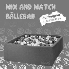 Mix & Match Bällebad eckig in grau, 110 x 110 x 40 cm, inkl. 400 Bälle mit freier Farbwahl