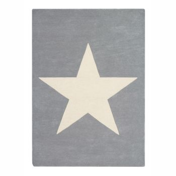 Kinderteppich  Big Star , in hellgrau, 140 x 200 cm, 100% Wolle, Lorena Canals
