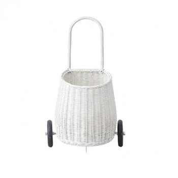 Rattan Trolley  Luggy , in weiß, 20 x 30 x 55 cm, von Olli Ella