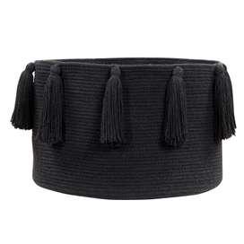 """Aufbewahrungskorb """"Basket Tassels"""", in schwarz, aus Baumwolle, 30 x 45 cm, von Lorena Canals"""